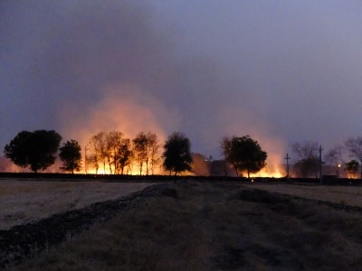 Neighbours burning wheat stubble