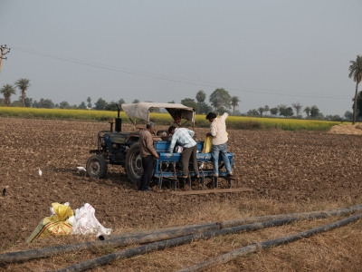 Filling Seed Drill with Wheat and DAP Dec 2019